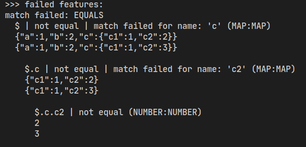 Matcher fail text with Karate 1.0